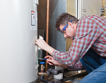 Water heater being fixed
